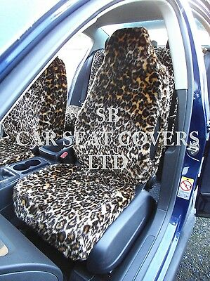 To Fit A Ford Puma Car, Seat Covers, Gold Leopard Faux Fur Full Set