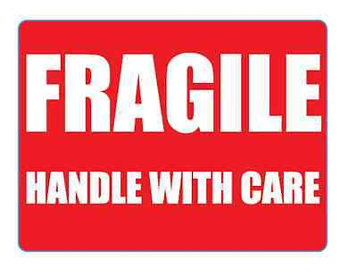 1000 'FRAGILE Handle With Care'  Box Self Adhesive Labels