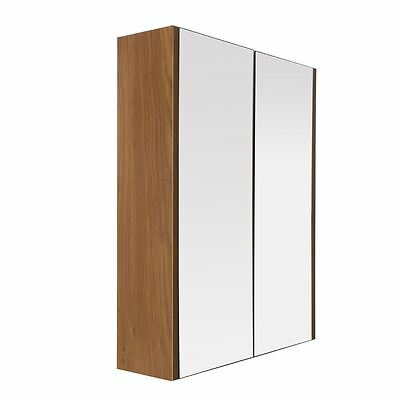 Premier Housewares Wall Cabinet, 2 Door, Oak Effect/Mirror