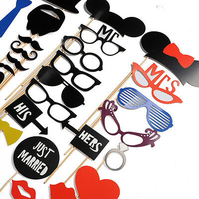 31PCS New Funny Masks Photo Booth Glasses Props Mustache Wedding Birthday Party