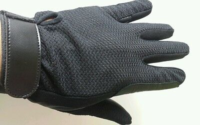 Brand New Horse Riding Gloves Black Mesh and 100% leather Large