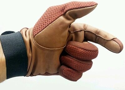 Brand New Horse Riding Gloves with Brown Mesh and 100% Cow leather XLarge