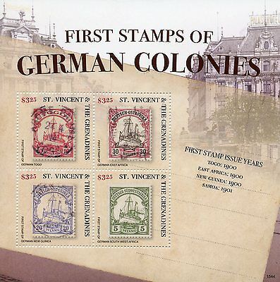 St Vincent & The Grenadines 2015 MNH First Stamps German Colonies 4v M/S I