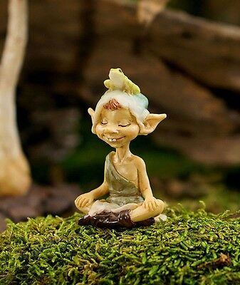 Miniature Garden Pixie Meditating with Frog TO 4476 Dollhouse Fairy Gnome Garden