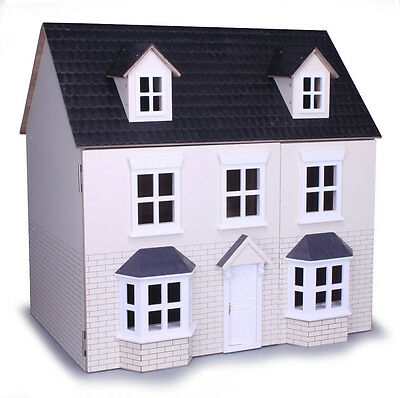 Cream Brick Two Storey Dolls House Kit Form Collector Wooden MDF