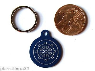 MEDAILLE GRAVEE RONDE BLEU MARIN CAPITAINE CHATON CHAT collier medalla cane
