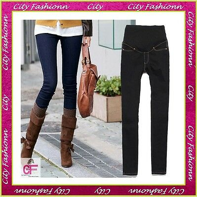 Black Blue Skinny Maternity Jeans Pregnancy Wear Clothes Size 6 8 10 12 14 16 18