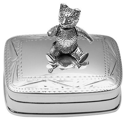 Moving Teddy Bear Pillbox Sterling Silver 925 Hallmarked New From Ari D Norman