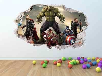 AVENGERS Movie Broken / Smashed Wall Effect Vinyl Wall Sticker - pw167
