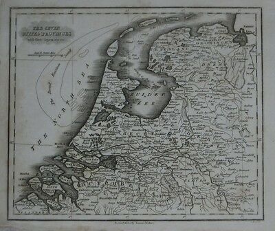 Original 1834 Map SEVEN UNITED PROVINCES Netherlands Holland Dutch Republic