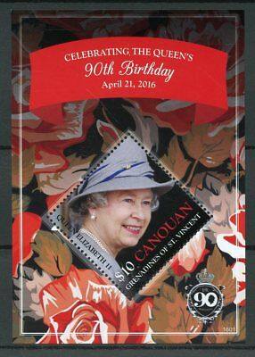 Canouan Gren St Vincent 2016 MNH Queen Elizabeth II 90th Birthday 1v S/S Stamps