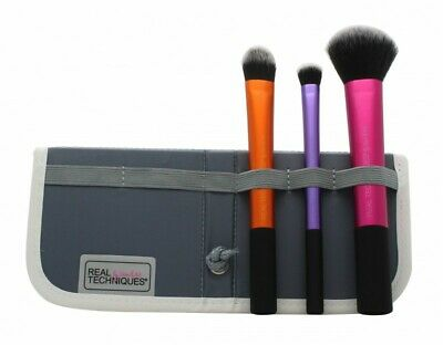 Real Techniques Travel Essentials Gift Set 3 X Brushes + Case - Women's. New