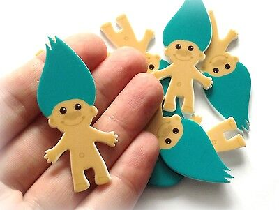 "Retro 90s Toy Troll Blue Hair - 57mm / 2.2"" Resin Plastic Cabochons - Exclusive"