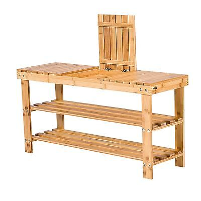 Bamboo Wooden 3 Tier Storage Shoe Organiser Bench Compartment Shelf New