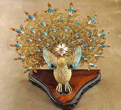 Antique Golden Chinese Gold Gilded Solid Silver Filigree & Enamel Peacock