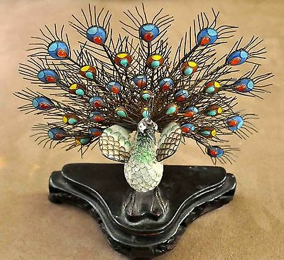 "Antique Chinese Solid Silver Enamel Peacock 7""X6.5"""