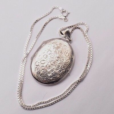 """Beautiful Sterling Silver Vintage Locket (1.5"""") Pendant Necklace 15 Inch Chain"""