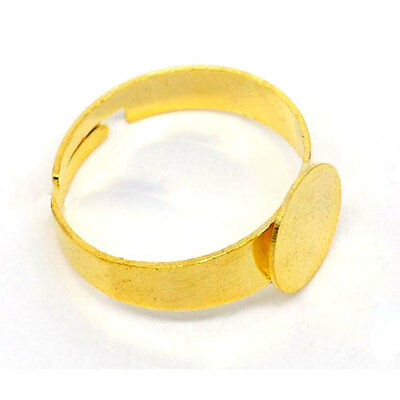 Free Shipping 20 Pcs Adjustable Gold Plated Ring Base Blank Findings 18.3mm(US8)