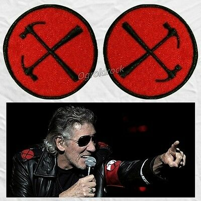 Set Roger Waters Shoulders Hammers Embroidered Patches The Wall Logo Pink Floyd