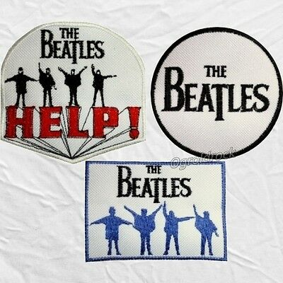 Set The Beatles Embroidered Patches Help! Circle Logos John Lennon George Paul