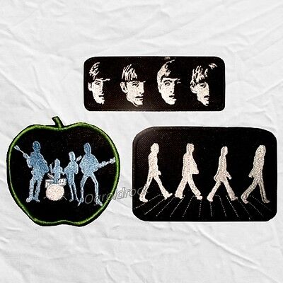 Set The Beatles Embroidered Patches Abbey Road With Apple Logo John Lennon Paul