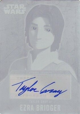 Star Wars Evolution - auto autograph plate Gray as Ezra 1/1