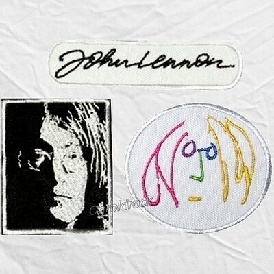 Set John Lennon Embroidered Patches Face Signature Imagine Logo The Beatles