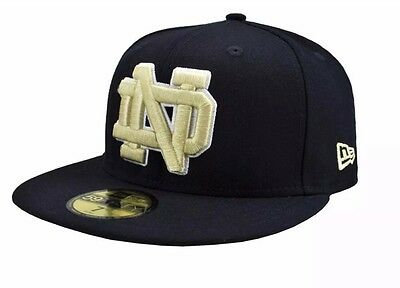 77a7ab513f1 New Era 59Fifty Notre Dame Fighting Irish Fitted Hat Navy Gold Size 7 1 2