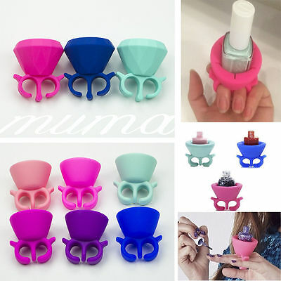 Silicone Finger Wearable Nail Polish Bottle Holder Universal Fits Tweexy Style