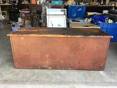 Antique Primitive AAFA Red Painted Pine New England 6 Board Blanket Chest