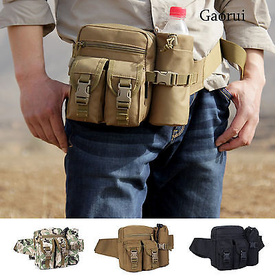 Tactical Outdoor Hiking Multifunction pockets Fanny Waist Pack Belt Water Bottle