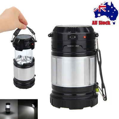 Power Outdoor Solar Camping Portable Flashlight Torch Lantern Rechargeable Emerg