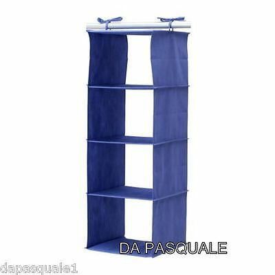 IKEA JALL - Closet Hanging Organizer with 4 Compartments Blue
