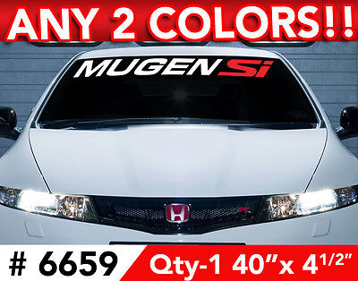 "MUGEN SI ANY 2 COLOR WINDSHIELD DECAL STICKER 40""w x 4"""