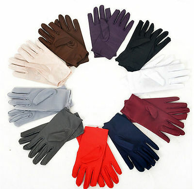 9 Colors Evening Party Wedding Formal Prom Stretch Satin Gloves for Women