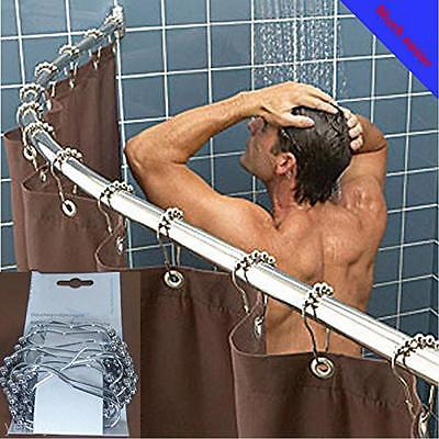 5Pcs Set Of 5 Roller Ball Bathroom Shower Curtain Rings Hooks Rod Clips Tool Hot