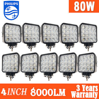 """10x 4""""inch 80W Philips LED Work Light Bar Flood Offroad Driving Lamp 12V 4WD 48W"""