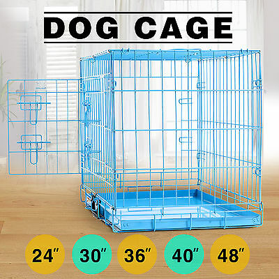 Crate Blue Folding Dog Cage Puppy Metal Training Pet Carrier Playpen W/ Tray