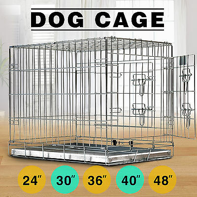Folding Dog Cage Puppy Crate Silver Metal Training Pet Carrier Playpen W/ Tray