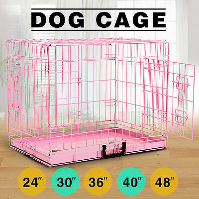 Puppy Crate Pink Folding Dog Cage Metal Training Pet Carrier Playpen in 5 Sizes