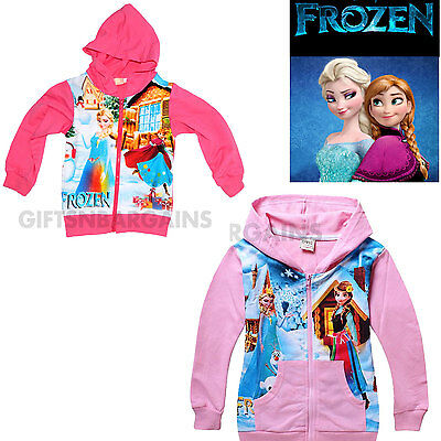 Frozen Girls Hoodie Cardigan Pink Elsa Anna Top Kid Winter Jacket Cotton 1-8y