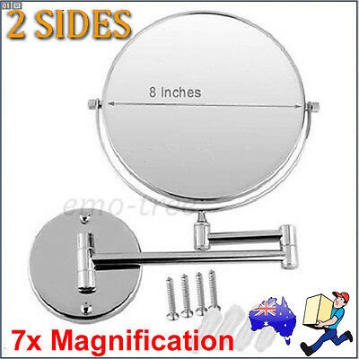 """New 8"""" 7x Magnification Wall Mounted Bathroom Make up Shaving Extendable Mirror"""