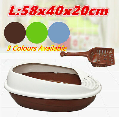 L Cat Pet Toilet Litter Training Tray Portable Hooded House Handle Scoop Box XL