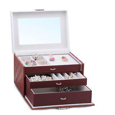 AU Black Jewellery Box Earrings Necklaces Storage Display Case Mirror Organizer