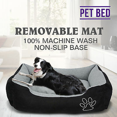 Washable Soft PET Bed Mattress Comfy Dog Cat Pad Mat Cushion Large Grey & Black