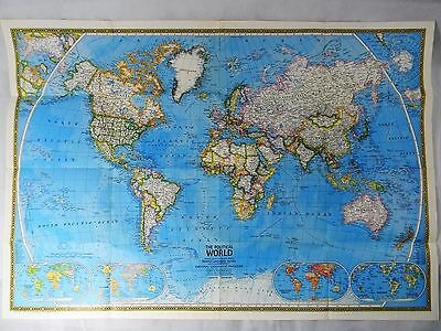 Vtg November 1975 National Geographic Political/Physical World Map/Poster