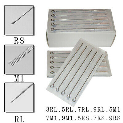 100 Pcs Disposable Steriled Tattoo Needles Mix Size 3/5/7/9 RL 5/7/9RS 5/7/9M1