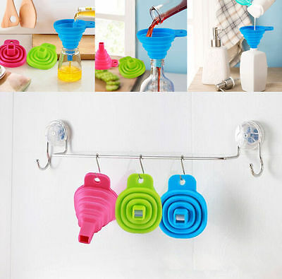 NEW  Silicone Gel Practical Collapsible Foldable Funnel Hopper Kitchen Tool