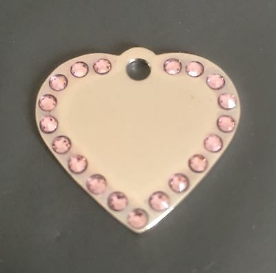 *SMALL* SILVER HEART with *PINK* Diamantes / bling. Engraved Cat/Dog/Pet ID tag