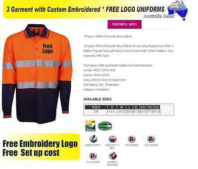 3  x HI VIS  Work shirts with Your Embroidered * FREE  LOGO  WORKWEAR  205